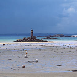 Lighthouse on the coast, Le Grande, Cotes-d'Armor, Brittany, France