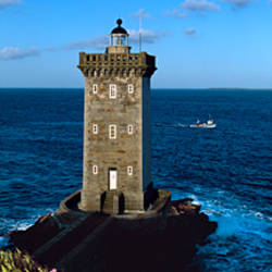Lighthouse on the coast, Kermorvan Lighthouse, Finistere, Brittany, France