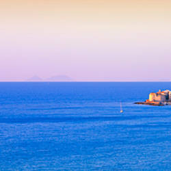 Buildings at the waterfront, Cefalu, Palermo Province, Sicily, Italy