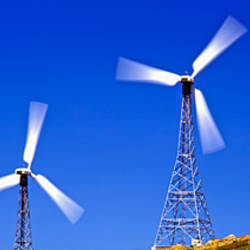 Low angle view of wind turbines, Costa Del Sol, Malaga Province, Andalusia, Spain