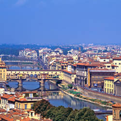 High angle view of a cityscape, Ponte Vecchio, Arno River, Florence, Tuscany, Italy