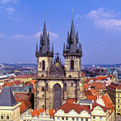 Church in a city, Tyn Church, Prague Old Town Square, Prague, Czech Republic