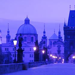 Statues along a bridge, Charles Bridge, Prague, Czech Republic
