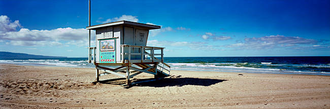 Lifeguard hut on the beach, 8th Street Lifeguard Station, Manhattan Beach, Los Angeles County, California, USA