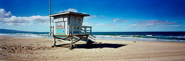 Lifeguard hut on the beach, 8th Street Lifeguard Station, Manhattan Beach, Los Angeles County, California, USA