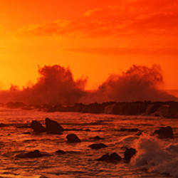 Waves breaking on rocks in the sea, Three Tables, North Shore, Oahu, Hawaii, USA