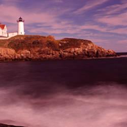 Lighthouse on the coast, Nubble Lighthouse, York, York County, Maine, USA