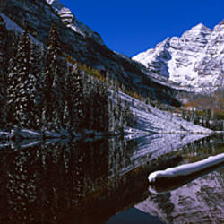 Reflection of a mountain in a lake, Maroon Bells, Aspen, Pitkin County, Colorado, USA