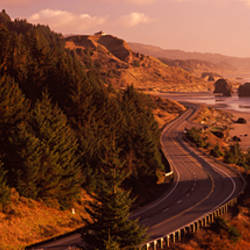 Highway along a coast, Highway 101, Pacific Coastline, Oregon, USA