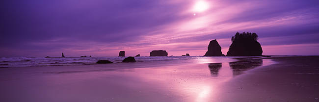 Silhouette of seastacks at sunset, Second Beach, Washington State, USA