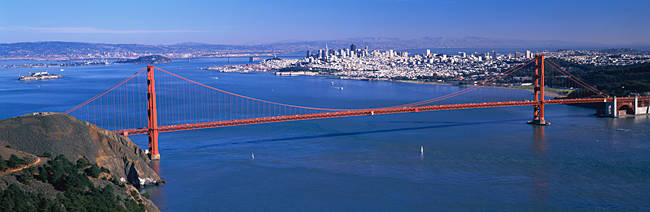 High angle view of a suspension bridge, Golden Gate Bridge, San Francisco, California, USA