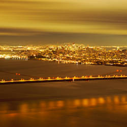 Suspension bridge lit up at dusk, Golden Gate Bridge, San Francisco, California, USA
