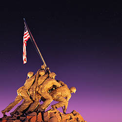 War memorial at twilight, Iwo Jima Memorial, Rosslyn, Arlington, Arlington County, Virginia, USA