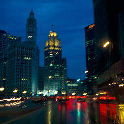 Buildings lit up at night, Wacker Drive, Chicago, Cook County, Illinois, USA