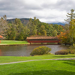 Covered bridge in a golf course, Jack O'Lantern golf course, Thornton, Grafton County, New Hampshire, USA