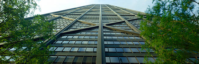 Low angle view of a skyscraper, John Hancock Center, Chicago, Cook County, Illinois, USA
