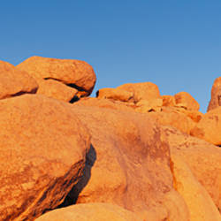 Low angle view of rock formations, Joshua Tree National Monument, California, USA