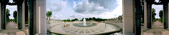 360 degree view of a war memorial, National World War II Memorial, Washington DC, USA