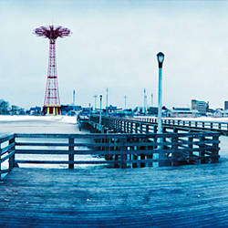 City in winter, Coney Island, Brooklyn, New York City, New York State, USA
