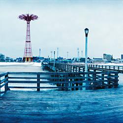 City in winter, Coney Island, Brooklyn, New York City, New York State, USA