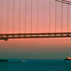 Bridge across the river, Verrazano-Narrows Bridge, New York Harbor, New York City, New York State, USA