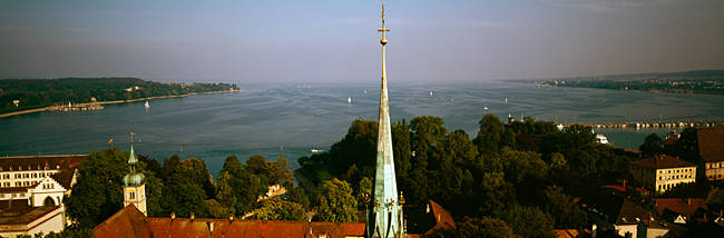 High angle view of a city, Boden Bay, Boden See, Konstanz, Baden-Wurttemberg, Germany
