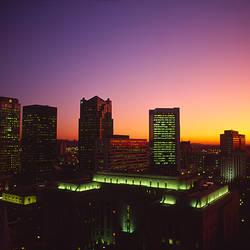 Buildings in a city at dusk, Birmingham, Alabama, USA