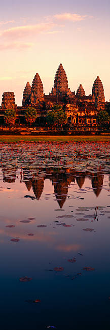 Reflection of a temple in water, Angkor Wat, Siem Reap, Angkor, Cambodia