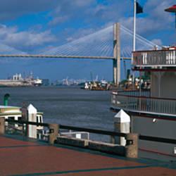 Ferry in the river, Georgia Queen, Talmadge Bridge, Savannah River, Savannah, Chatham County, Georgia, USA