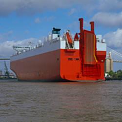 Ferries in the river, Georgia Queen, Talmadge Bridge, Savannah River, Savannah, Chatham County, Georgia, USA