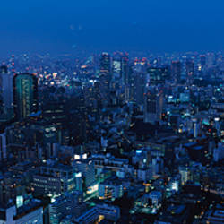 Tower lit up at dusk in a city, Tokyo Tower, Minato Ward, Tokyo Prefecture, Kanto Region, Honshu, Japan