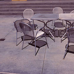 Tables with chairs on a street, San Jose, Santa Clara County, California, USA