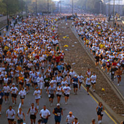 High angle view of people running in a marathon, Chicago Marathon, Chicago, Cook County, Illinois, USA