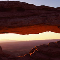 Natural arch at sunrise, Mesa Arch, Canyonlands National Park, Utah, USA