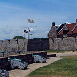 Cannons at a fort, Fort Ticonderoga, Champlain Lake, Ticonderoga, Adirondack State Park, Essex County, New York State, USA