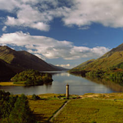 Monument at the lakeside, Glenfinnan Monument, Glenfinnan, Loch Shiel, Fort William, Highlands Region, Scotland