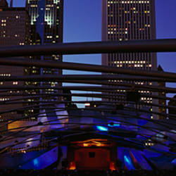 Buildings lit up at night, Millennium Park, Chicago, Cook County, Illinois, USA