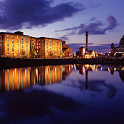 Reflection of buildings in water, Albert Dock, Liverpool, Merseyside, England