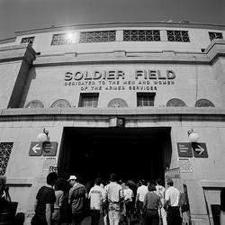 Spectators entering a football stadium, Soldier Field, Lake Shore Drive, Chicago, Illinois, USA