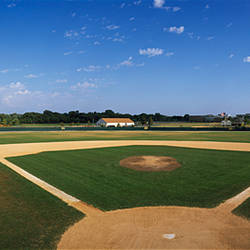 High school baseball diamond field, Lincolnshire, Lake County, Illinois, USA