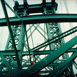 Low angle view of a suspension bridge, Williamsburg Bridge, New York City, New York State, USA