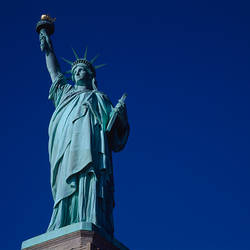 Low angle view of a statue, Statue Of Liberty, Liberty Island, New York Harbor, New York City, New York State, USA