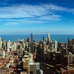 Aerial view of a cityscape with Lake Michigan in the background, Chicago River, Chicago, Cook County, Illinois, USA