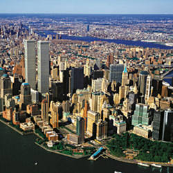 Manhattan from air with World Trade Center towers, New York City, New York State, USA