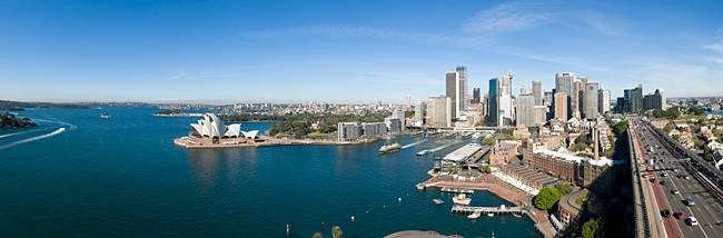 High angle view of a city, Sydney Opera House, Circular Quay, Sydney Harbor, Sydney, New South Wales, Australia