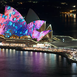 Opera house lit up at night, Sydney Opera House, Sydney, New South Wales, Australia