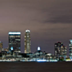 Buildings in a city lit up at night, Hudson River, Jersey City, Hudson County, New Jersey, USA
