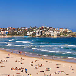 Tourists on the beach, Bondi Beach, Sydney, New South Wales, Australia
