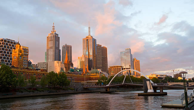Buildings at the waterfront, Yarra River, Melbourne, Victoria, Australia