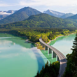 Bridge across a lake, Sylvenstein Dam, Sylvenstein Lake, Isar, Bavaria, Germany